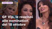 GF Vip, le reazioni alle nomination del 18 ottobre