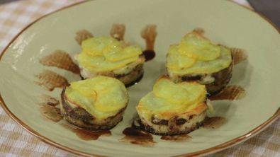 Tortino di funghi porcini, patate e pecorino toscano D.O.P