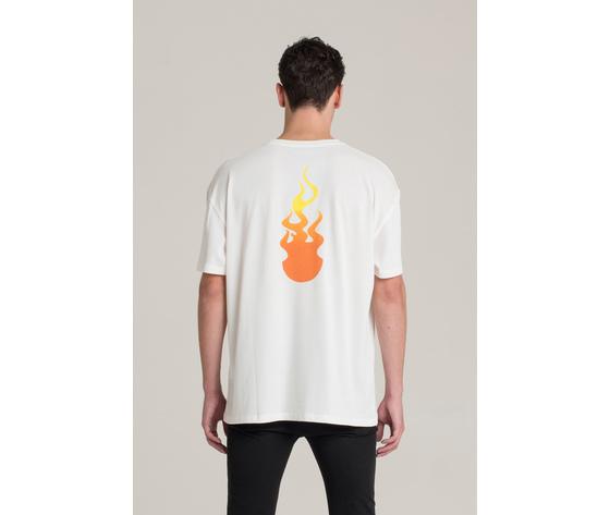 T shirt i'm brian bianca oversize con stampa fiamme art. ts1430 2