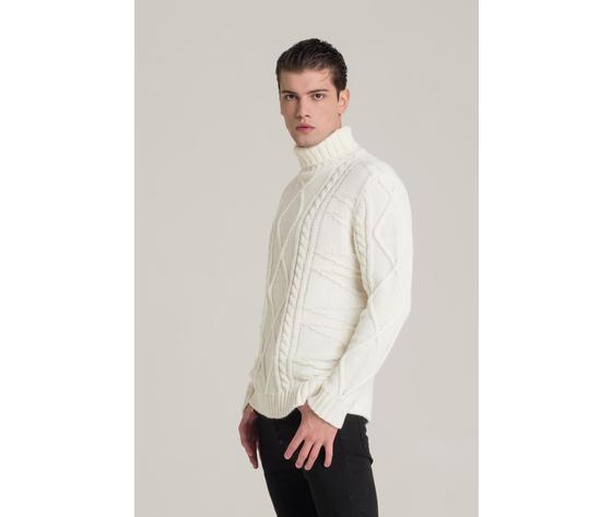 Maglione dolcevita panna uomo i'm brian bianco chiaro treccia art. ma1529 b 2