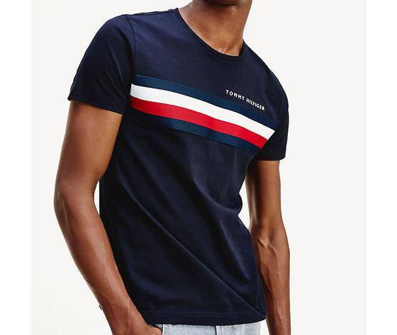 T shirt uomo blu tommy hilfiger global stripe strisce orizzontali bianco e rosse cotone bio art. mw0mw14337 dw5