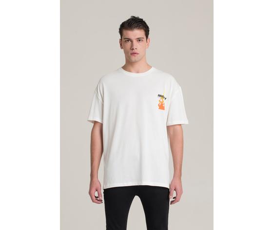 T shirt i'm brian bianca oversize con stampa fiamme art. ts1430