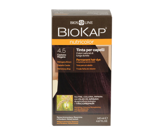 Tinta per capelli biokap 4 5 castano mogano 100700